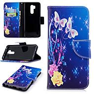 お買い得  携帯電話ケース-ケース 用途 LG G7 ウォレット / カードホルダー / スタンド付き フルボディーケース フラワー ハード PUレザー のために LG G7