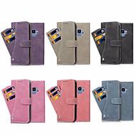 Недорогие Чехлы и кейсы для Galaxy S7 Edge-Кейс для Назначение SSamsung Galaxy S9 Plus / S9 Бумажник для карт / со стендом / Флип Чехол Однотонный Твердый Кожа PU для S8 Plus / S8 / S7 edge