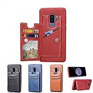 Недорогие Чехлы и кейсы для Galaxy S9-Кейс для Назначение SSamsung Galaxy S9 Plus / S8 Plus Бумажник для карт / со стендом / Магнитный Кейс на заднюю панель Однотонный Твердый Кожа PU для S9 / S9 Plus / S8