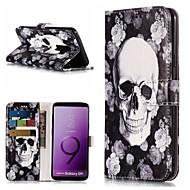 Недорогие Чехлы и кейсы для Galaxy S7-Кейс для Назначение SSamsung Galaxy S9 Plus / S9 Кошелек / Бумажник для карт / со стендом Чехол Черепа / Цветы Твердый Кожа PU для S9 / S9 Plus / S8 Plus