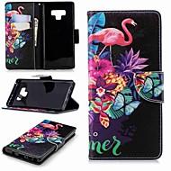 Недорогие Чехлы и кейсы для Galaxy Note 8-Кейс для Назначение SSamsung Galaxy Note 9 / Note 8 Кошелек / Бумажник для карт / со стендом Чехол Фламинго Твердый Кожа PU для Note 9 / Note 8