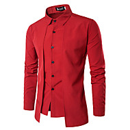 남성용 솔리드 셔츠, 사업 / 빈티지 작동 / 긴 소매