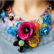 cheap Floral Jewelry-Women's Plaited Bib Pendant Necklace / Statement Necklace - Flower Luxury Green, Pink, Rainbow Necklace Jewelry 1pc For Party, Special Occasion, Birthday