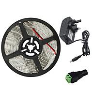 お買い得  -5m フレキシブルLEDライトストリップ 300 LED 3528 SMD 1 x 2A電源アダプタ 温白色 / クールホワイト / レッド 防水 / カット可能 / 接続可 100-240 V 1個 / ノンテープ・タイプ