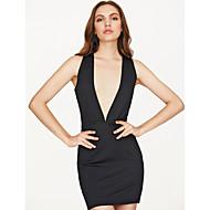 levne -Dámské Párty Klub Vypasovaný Bodycon Šaty - Jednobarevné Duté, Volná záda Mini Hluboké V Černá / Sexy