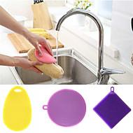 abordables Escobillas y cepillos de mano-Cocina Limpiando suministros Silicona Cepillo y Trapo de Limpieza Simple / Universal / Utensilios 3pcs