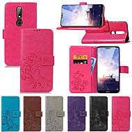 お買い得  携帯電話ケース-ケース 用途 Nokia Nokia 6 2018 / Nokia X6 ウォレット / カードホルダー / スタンド付き フルボディーケース ソリッド / 曼荼羅 / バタフライ ハード PUレザー のために Nokia 8 / Nokia 7 Plus / Nokia 6