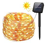 billige LED-kædelys-ZDM® 10 m Lysslynger 100 lysdioder SMD 0603 1Sæt monteringsbeslag Varm hvid / Kold hvid / Blå Vandtæt / Solar / Jul Soldrevet / 2 V 1set / IP65
