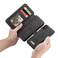 Недорогие Кейсы для iPhone 8 Plus-caseme case for apple iphone x кошелек / держатель карты / флип чехлы для тела сплошная цветная твердая кожа pu для iphone x / iphone 8 plus / iphone 8