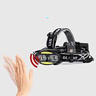 preiswerte Taschenlampen, Laternen & Lichter-2504-B Stirnlampen Fahrradlicht LED LED 800 lm 5 Beleuchtungsmodus Wasserfest, Verstellbar, Langlebig Camping / Wandern / Erkundungen, Jagd Schwarz