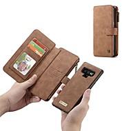 Недорогие Чехлы и кейсы для Galaxy Note-Кейс для Назначение SSamsung Galaxy Note 9 / Note 8 Кошелек / Бумажник для карт / Защита от удара Чехол Однотонный Твердый Настоящая кожа для Note 9 / Note 8