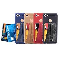 お買い得  携帯電話ケース-ケース 用途 OPPO F5 / A57 カードホルダー / スタンド付き / バンカーリング バックカバー ソリッド ソフト PUレザー のために Oppo F5 / OPPO A57 / Oppo A39
