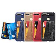 お買い得  携帯電話ケース-ケース 用途 Huawei P smart / Honor 7C(Enjoy 8) カードホルダー / スタンド付き / バンカーリング バックカバー ソリッド ソフト PUレザー のために P smart / Honor 7A / Honor 7C(Enjoy 8)