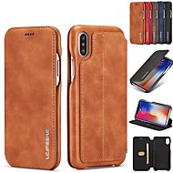 cheap iPhone XS Max Cases-Case For Apple iPhone XR / iPhone XS Max Card Holder / with Stand / Flip Full Body Cases Solid Colored Hard Genuine Leather for iPhone XS / iPhone XR / iPhone XS Max