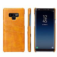 Недорогие Чехлы и кейсы для Galaxy Note-Кейс для Назначение SSamsung Galaxy Note 9 Бумажник для карт Кейс на заднюю панель Однотонный Твердый Настоящая кожа для Note 9