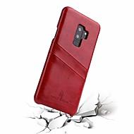Недорогие Чехлы и кейсы для Galaxy S-Кейс для Назначение SSamsung Galaxy S9 Plus / S9 Бумажник для карт Кейс на заднюю панель Однотонный Твердый Настоящая кожа для S9 / S9 Plus