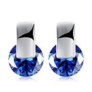 여성용 블루 사파이어 모조 큐빅 클래식 귀걸이 18K 골드 귀걸이 숙녀 패션 보석류 화이트 / 네이비 블루 제품 파티 / 이브닝 일상 1 쌍