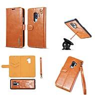 Недорогие Чехлы и кейсы для Galaxy S7 Edge-Кейс для Назначение SSamsung Galaxy S9 Plus / S8 Plus Бумажник для карт / Защита от удара / со стендом Чехол Однотонный / Плитка Твердый Настоящая кожа для S9 / S9 Plus / S8 Plus