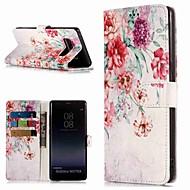 Недорогие Чехлы и кейсы для Galaxy Note 8-Кейс для Назначение SSamsung Galaxy Note 9 / Note 8 Кошелек / Бумажник для карт / со стендом Чехол Цветы Твердый Кожа PU для Note 9 / Note 8