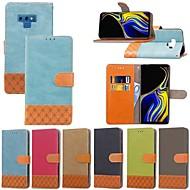 Недорогие Чехлы и кейсы для Galaxy Note 8-Кейс для Назначение SSamsung Galaxy Note 9 / Note 8 Бумажник для карт / Защита от удара / со стендом Чехол Однотонный / Геометрический рисунок Твердый текстильный для Note 9 / Note 8 / Note 5