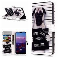 お買い得  携帯電話ケース-ケース 用途 Huawei P20 Pro / P10 Lite ウォレット / カードホルダー / スタンド付き フルボディーケース 犬 ハード PUレザー のために Huawei P20 / Huawei P20 Pro / Huawei P20 lite