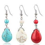 cheap -Women's Turquoise Retro two stone Drop Earrings Earrings Ladies Vintage western style Jewelry Red / Blue / Beige / White For Daily 1 Pair