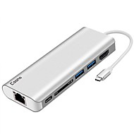 baratos -Cooho USB 3.0 Tipo C to HDMI 2.0 Hub USB 6 Portos Com leitor de cartão (s) / Protecção de Entrada / OTG / com Ethernet