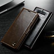Недорогие Чехлы и кейсы для Galaxy Note-CaseMe Кейс для Назначение SSamsung Galaxy Note 9 / Note 8 Кошелек / Бумажник для карт / со стендом Чехол Однотонный Твердый Кожа PU для Note 9 / Note 8 / Note 5