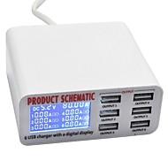 billige -USB oplader SR-1008L 6 Desk Charger Station LCD Display / Nyt Design / Med smart identifikation US Stik / EU Stik / UK Stik Opladningsadapter