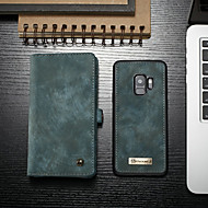 Недорогие Чехлы и кейсы для Galaxy S-Кейс для Назначение SSamsung Galaxy S9 Кошелек / Бумажник для карт / со стендом Чехол Однотонный Твердый Кожа PU для S9