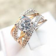 Dame Klar Diamant Kvadratisk Zirconium Crossover Band Ring Ring Evigheden ring Plastik Rødguldbelagt Simuleret diamant Gypsophila Unikt design Mode Elegant Moderinge Smykker Rose Guld Til