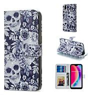 preiswerte Handyhüllen-Hülle Für Huawei P20 Pro / P20 lite Geldbeutel / Kreditkartenfächer / mit Halterung Ganzkörper-Gehäuse Totenkopf Motiv Hart PU-Leder für Huawei P20 Pro / Huawei P20 lite / P10 Lite