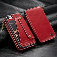 Недорогие Кейсы для iPhone 8-CaseMe Кейс для Назначение Apple iPhone 8 / iPhone 7 Кошелек / Бумажник для карт / Защита от удара Чехол Однотонный Твердый Кожа PU для iPhone 8 / iPhone 7