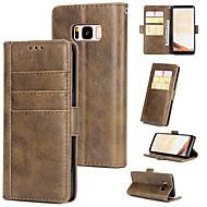 Недорогие Чехлы и кейсы для Galaxy S-Кейс для Назначение SSamsung Galaxy S8 Plus Кошелек / Бумажник для карт / Флип Кейс на заднюю панель Однотонный Твердый Кожа PU для S8 Plus