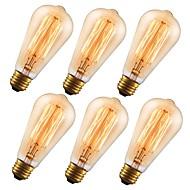 tanie -GMY® 6 szt. 60 W E26 ST64 Bursztynowy 2200 k Retro / Przygaszanie / Dekoracyjna Żarówka Edisona w stylu vintage 110-130 V