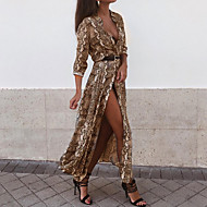 cheap -Women's Party Going out Basic Maxi Sheath Dress - Leopard Shirt Collar Spring Gray Yellow M L XL