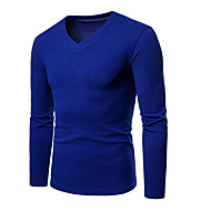 ieftine -Bărbați Mărime Asiatică Tricou De Bază / Șic Stradă - Mată / În V / Manșon Lung