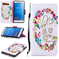 お買い得  携帯電話ケース-ケース 用途 Huawei P9 Lite ウォレット / カードホルダー / 耐衝撃 フルボディーケース ワード/文章 ハード PUレザー のために Huawei P9 Lite