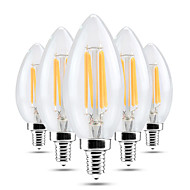 voordelige -5 stuks 4 W 400 lm E14 LED-kaarslampen 4 LED-kralen Schattig / Zacht gloeidraad Warm wit 220-240 V