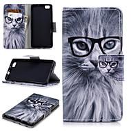 preiswerte Handyhüllen-Hülle Für Huawei P8 Lite Geldbeutel / Kreditkartenfächer / Stoßresistent Ganzkörper-Gehäuse Katze Hart PU-Leder für Huawei P8 Lite