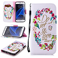 cheap Samsung-Case For Samsung Galaxy S7 edge Wallet / Card Holder / Shockproof Full Body Cases Word / Phrase Hard PU Leather for S7 edge