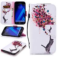 Недорогие Чехлы и кейсы для Galaxy A5(2017)-Кейс для Назначение SSamsung Galaxy A5(2017) Кошелек / Бумажник для карт / Защита от удара Чехол Кот / Бабочка Твердый Кожа PU для A5 (2017)