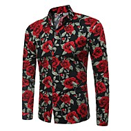 cheap -Men's Basic Shirt - Floral / Color Block