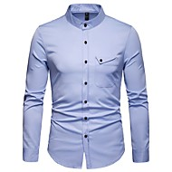 cheap -Men's Basic Shirt - Solid Colored