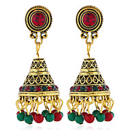cheap -1 Pair Women's Vintage Style Drop Earrings - Imitation Pearl Gold Plated Imitation Diamond Ethnic Jewelry Rainbow / Red / Green For Wedding Stage Holiday