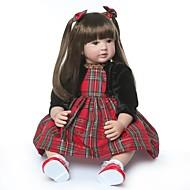 お買い得  -NPKCOLLECTION リボーンドール ガールドール 赤ちゃん(女) 24 インチ プレゼント 手作り 人工インプラントブラウンアイズ 子供 女の子 おもちゃ ギフト