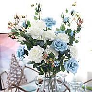 お買い得  -人工花 3 ブランチ クラシック 欧風 田園 スタイル バラ テーブルトップフラワー