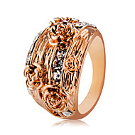 cheap -Women's Clear Cubic Zirconia Classic Statement Ring Ring Knuckle Ring - Rose Gold Plated, Imitation Diamond Flower Shape Trendy, Rock, Oversized Jewelry Rose Gold For Party Masquerade Club 6 / 7 / 8