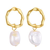 cheap -Women's Classic Drop Earrings - Pearl Geometric Jewelry Gold For Wedding Engagement 1 Pair