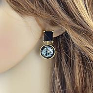 저렴한 -여성용 기하학적 인 앞 & 뒤 스타일 귀걸이 - 세련 보석류 블랙 제품 일상 홀리데이 1 쌍